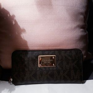 Michael Kors signature MK print zip around wallet